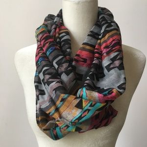 Multicolor Tribal Aztec Lightweight Infinity Scarf